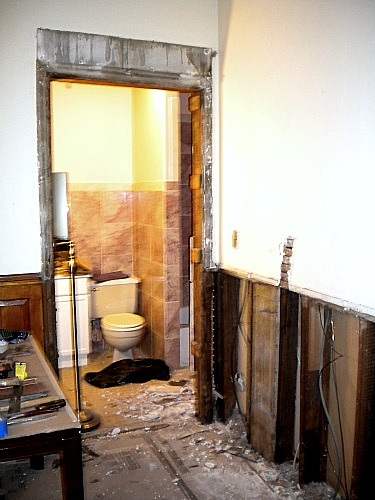 demolishing the bathroom