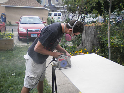 using cement board for easy concrete counters