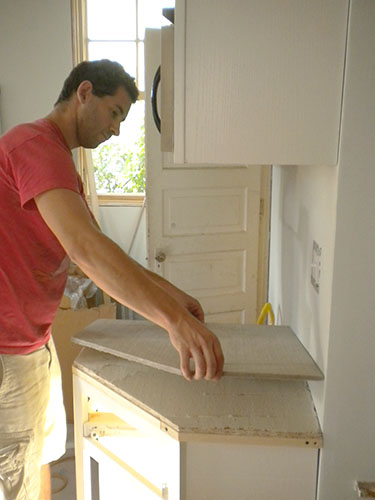 using cement board on a concrete counter