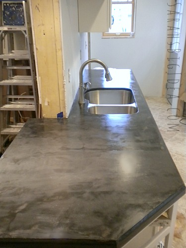 DIY concrete breakfast bar