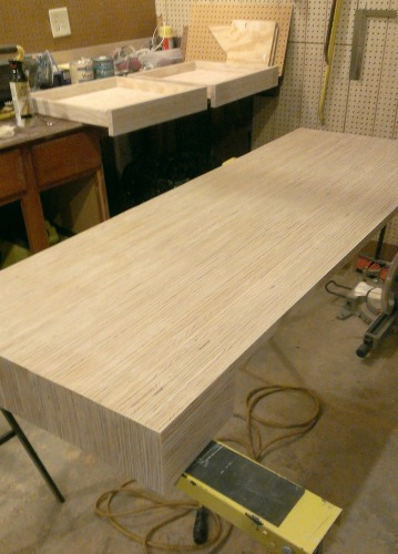 finishing a plywood strip desk