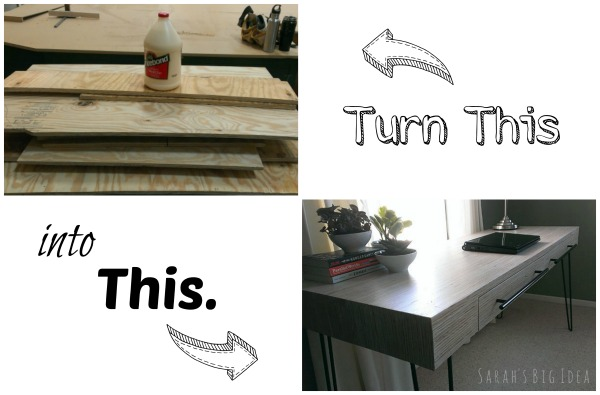 plywood strip desk tutorial