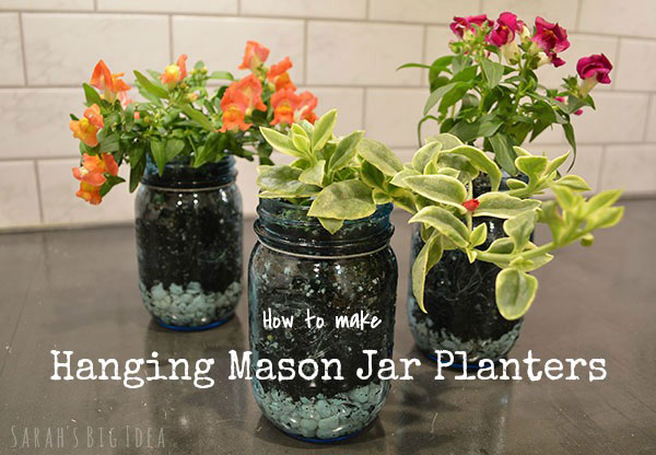 How to make Hanging Mason Jar Planters