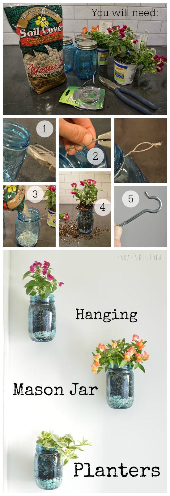 Make a hanging planter out of a mason jar