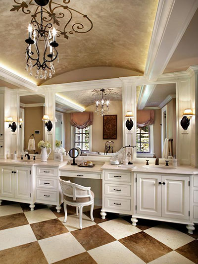 French Bathroom With Dual Vanities and Makeup Desk