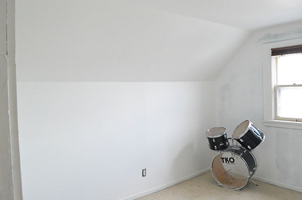 white walls in the music room