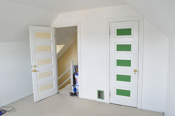 white walls and unfinished doors