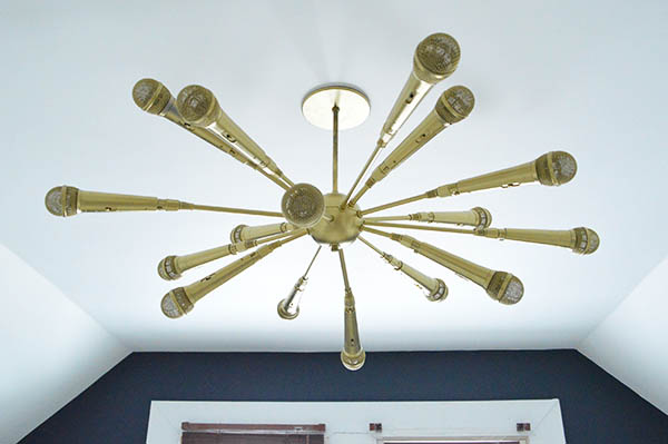 Gold Microphone Chandelier