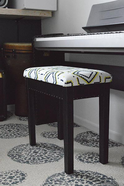 DIY leather-wrapped piano bench