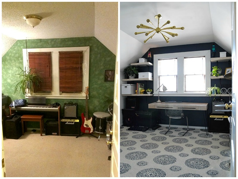 music room before and after