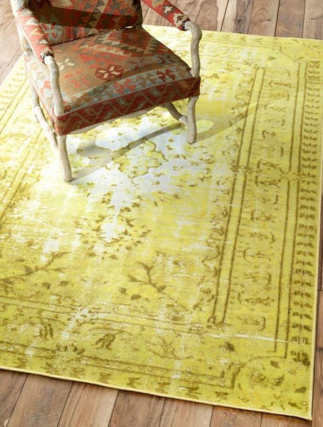yellow rug Windsor Damla Overdyed