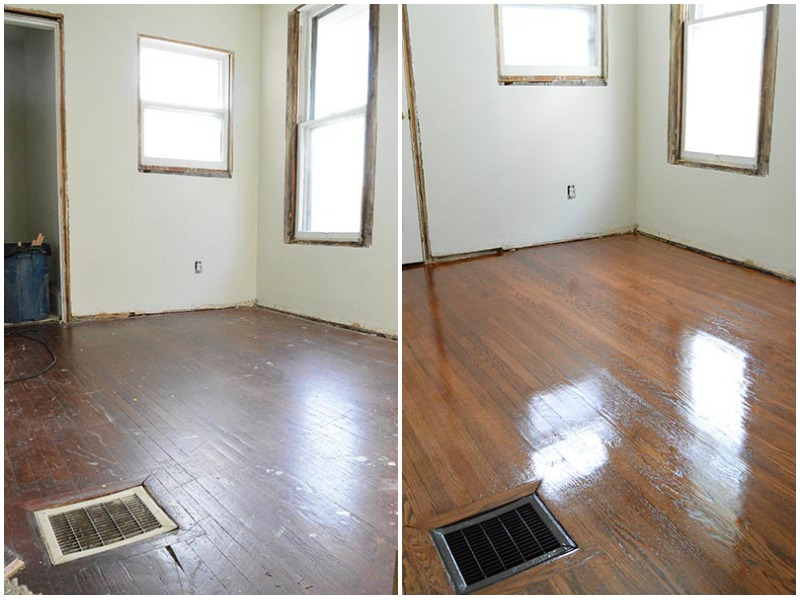 refinished floors before and after