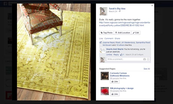 yellow rug on facebook