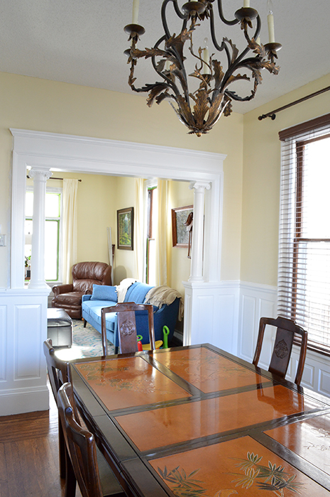 dining room with painted wood